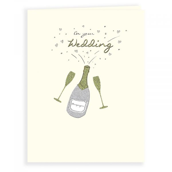Wedding Card, Champagne Bottle & Glasses