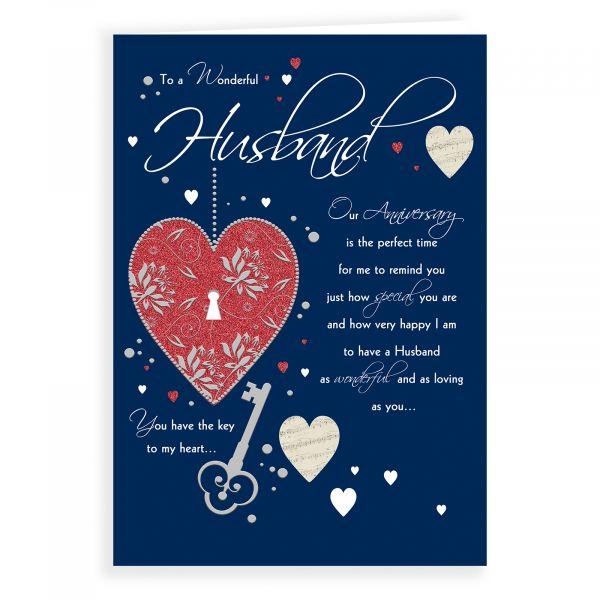 Anniversary Card Husband, Heart With Keyhole