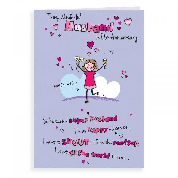 Anniversary Card Husband, Wife Shouting
