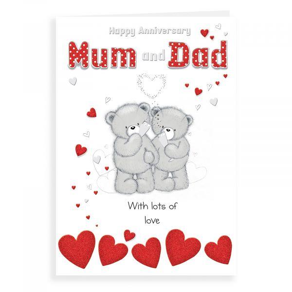 Anniversary Card Mum & Dad, Bear Couple Holding Glasses