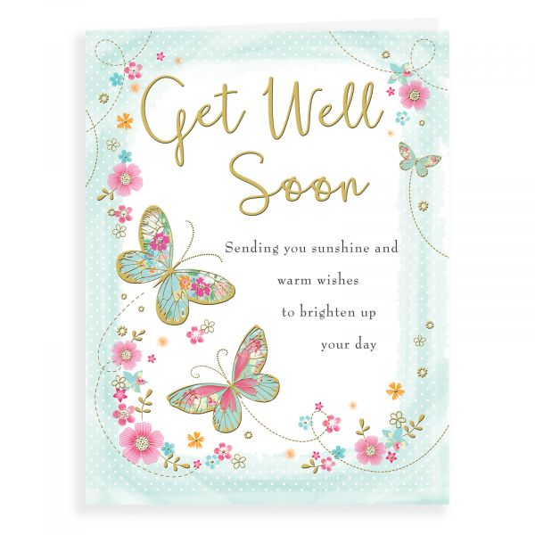Get Well Card, Butterfly & Floral