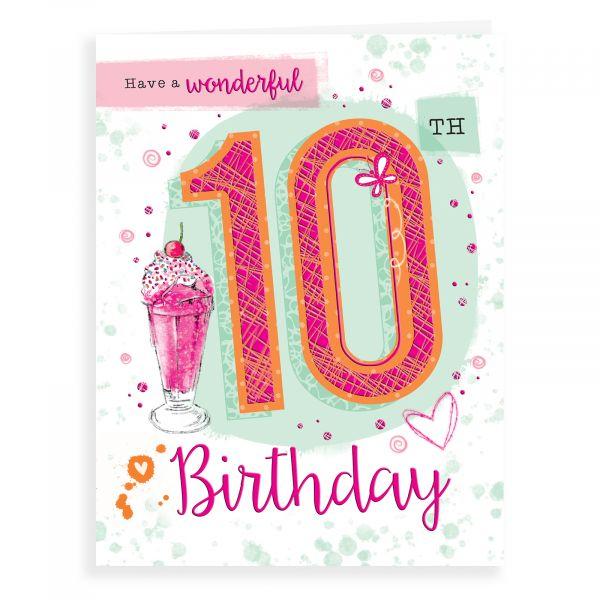 Birthday Card Age 10 F, Ice Cream Sundae