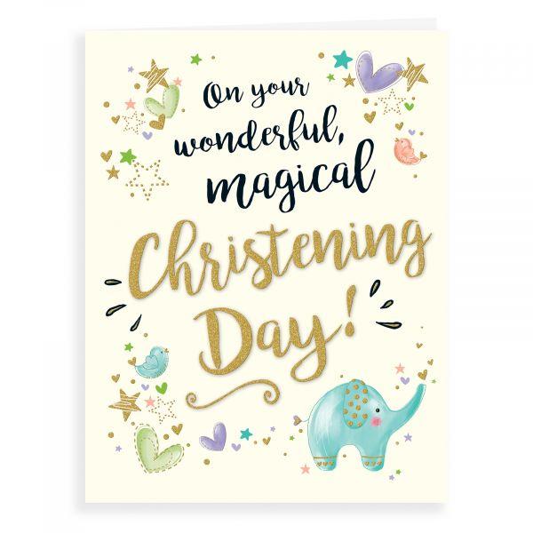 Christening Card, Elephant