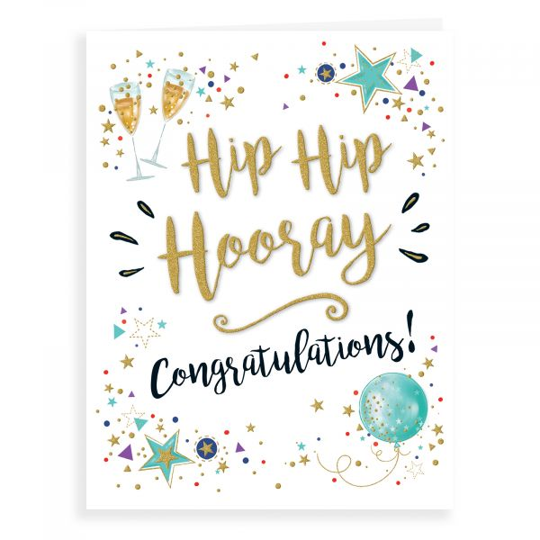 Congratulations Card, Balloons Gold Dust