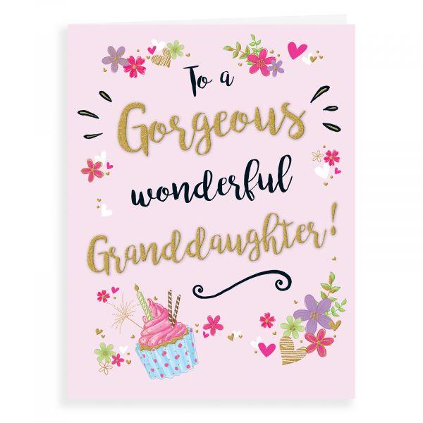 Birthday Card Granddaughter, Cupcake Gold Dust