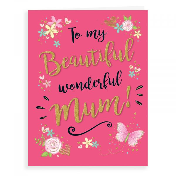 Birthday Card Mum, Butterfly & Flowers