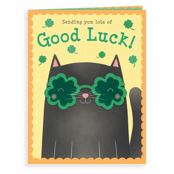 Good Luck Card, Black Cat Glasses