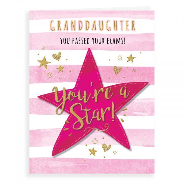 Congratulations Card Exam Granddaughter
