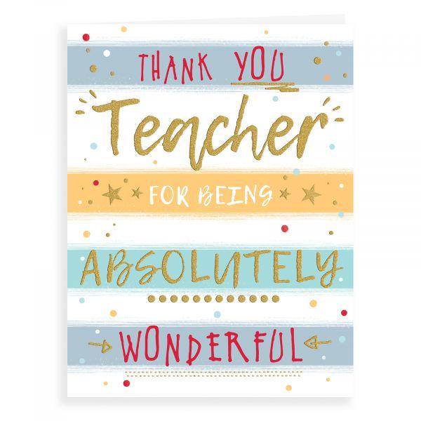 Thank You Card Teacher, Text On Stripes