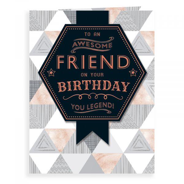 Birthday Card Friend, Text On Pattern