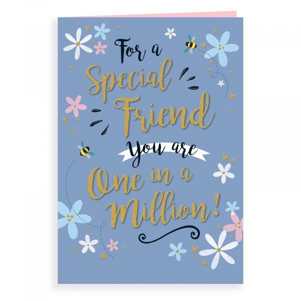 Birthday Card Friend, Floral On Grey