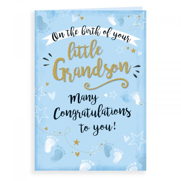 Baby Card Birth of Grandson, Footprints & Stars
