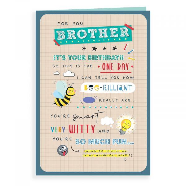 Birthday Card Brother, Bee Rilliant