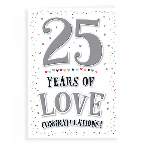 Anniversary Card Silver, 25 Years Of Love