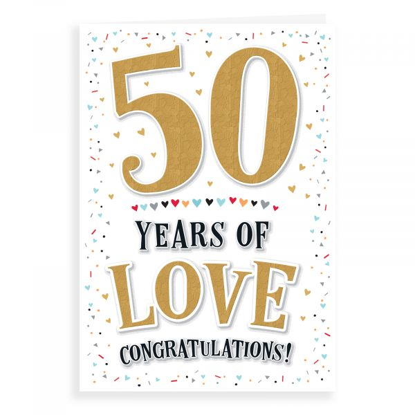 Anniversary Card Golden, 50 Years Of Love