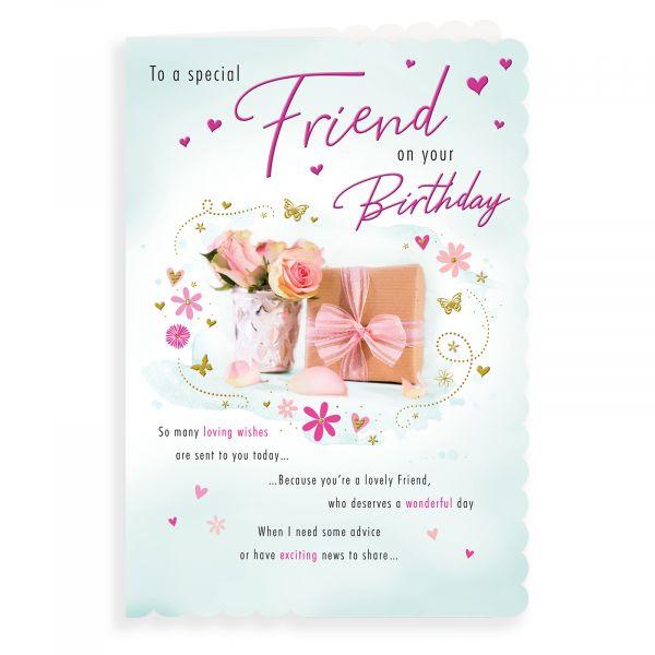 Birthday Card Friend, Presents & Roses
