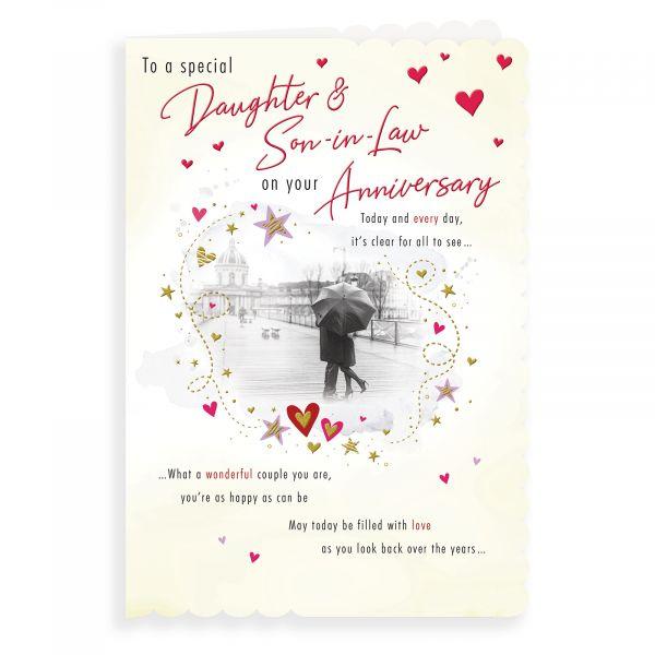 Anniversary Card Daughter & Son In Law, Couple Umbrella