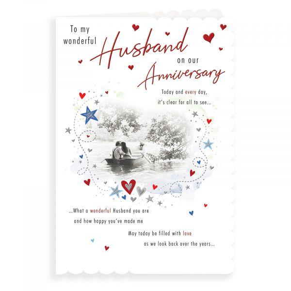 Anniversary Card Husband, Couple Boat