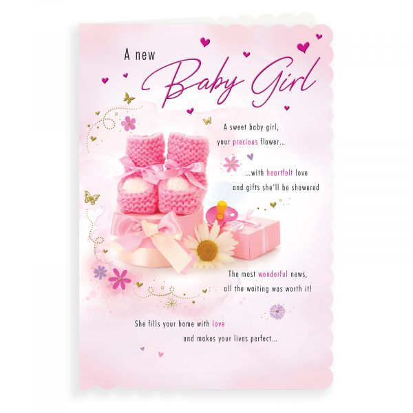 Baby Card Baby Girl, Bootees