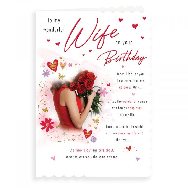 Birthday Card Wife, Lady With Roses