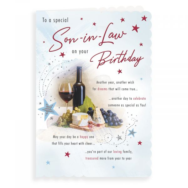Birthday Card Son In Law, Wine & Cheese Board