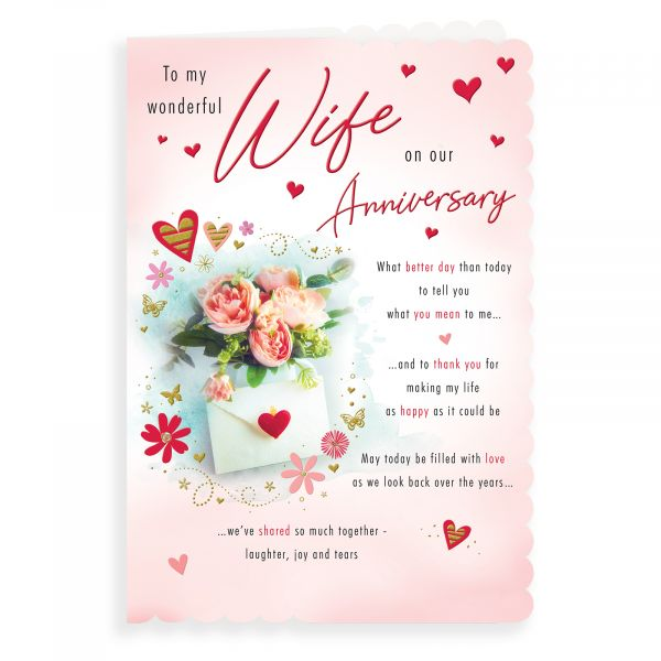 Anniversary Card Wife, Roses