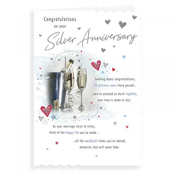 Anniversary Card Silver, Champagne