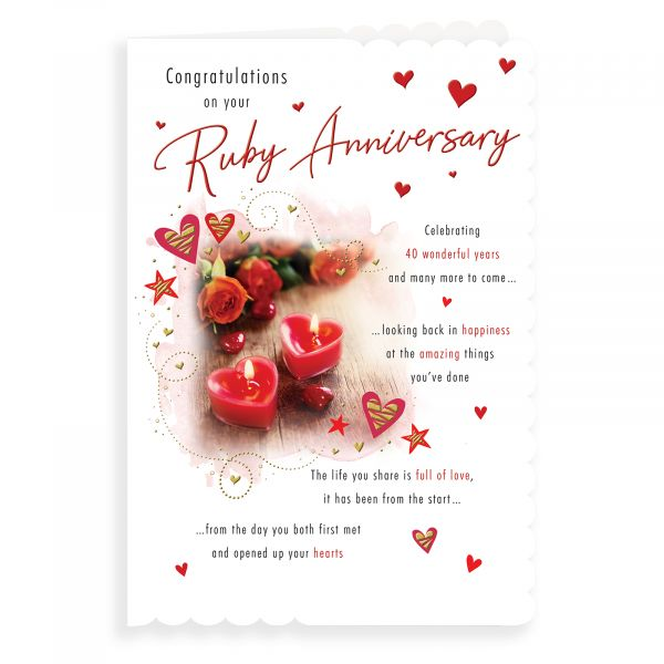 Anniversary Card Ruby, Roses & Candles