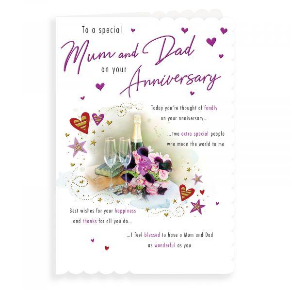 Anniversary Card Mum & Dad, Champagne Flowers