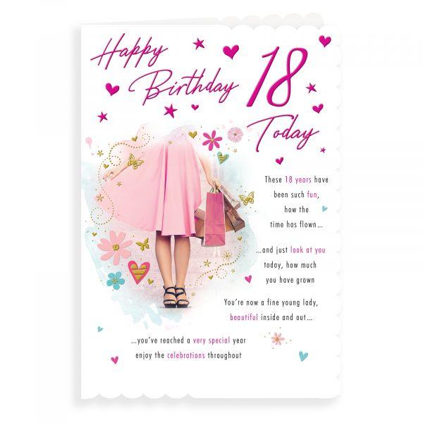 Birthday Card Age 18 F, Girl Shopping
