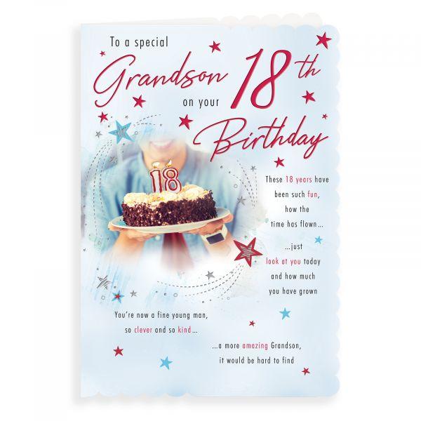 Birthday Card Age 18 Grandson, Cake & Candles