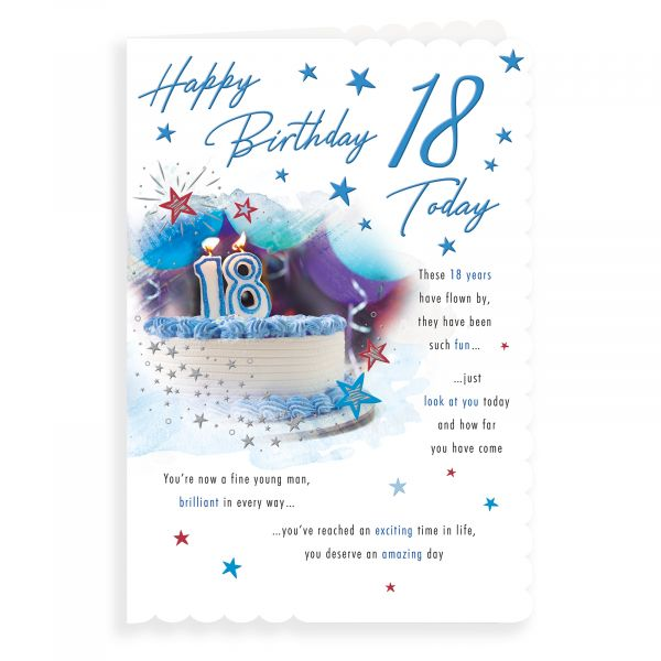 Birthday Card Age 18 M, Cake & Candles