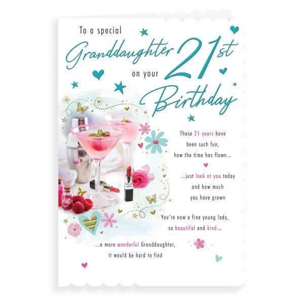 Birthday Card Age 21 Granddaughter, Cocktails & Makeup