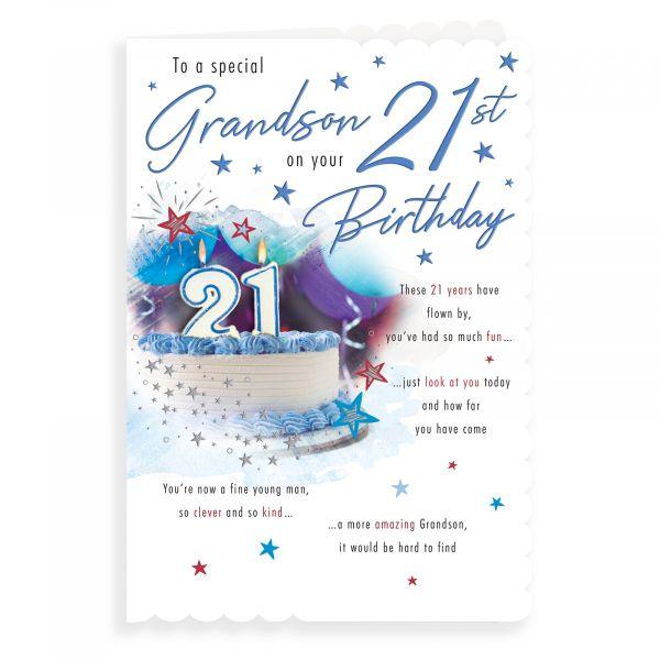 Birthday Card Age 21 Grandson, Cake & Candles