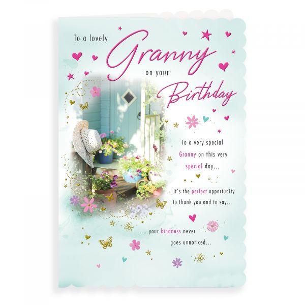 Birthday Card Granny, Flower Pots Hat