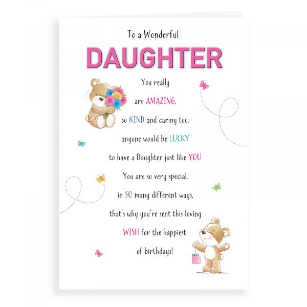 Birthday Card Daughter, Bear With Flowers