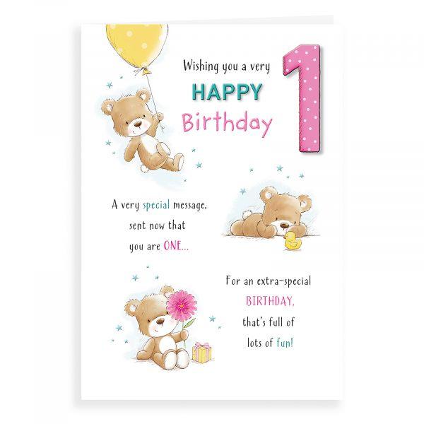 Birthday Card Age 1 F, Bear With Balloon