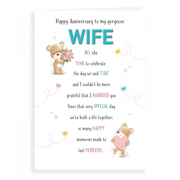 Anniversary Card Wife, Bear With Flowers