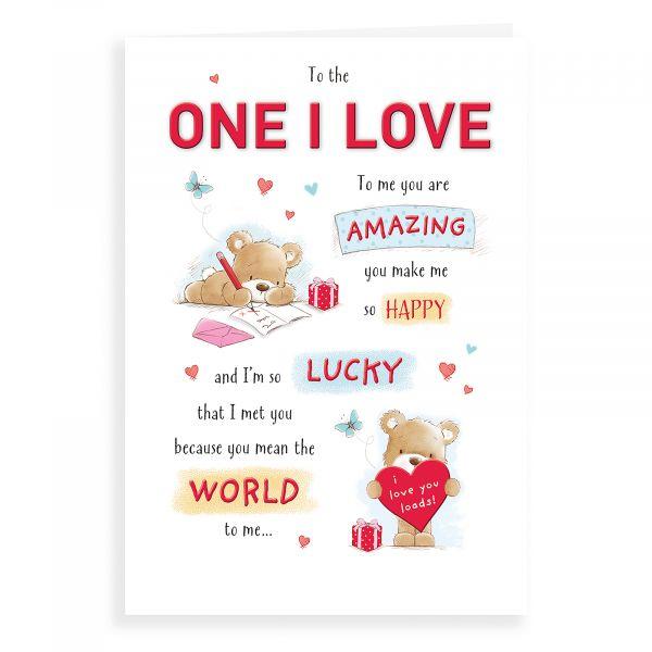 Birthday Card One I Love, Bear Writing & Heart