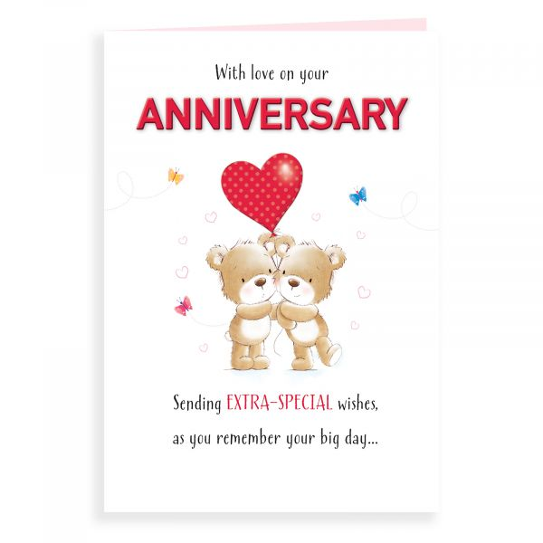 Anniversary Card Your, Bear Couple With Balloon