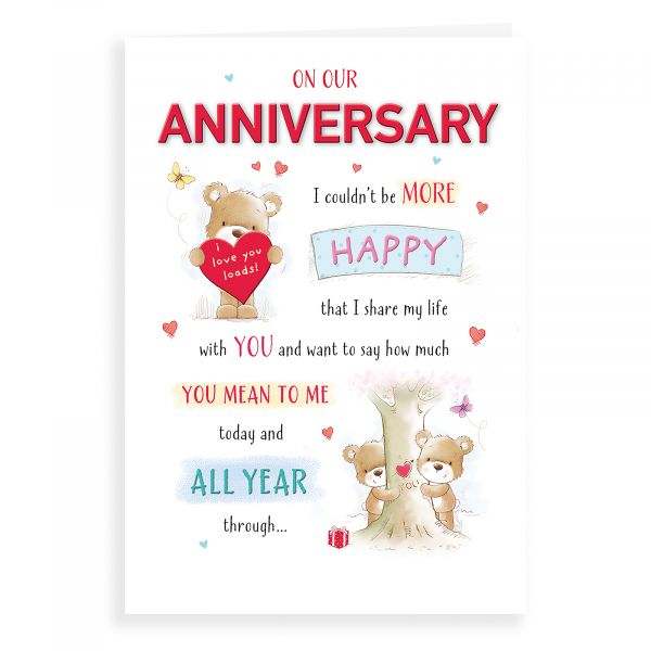 Anniversary Card Our, Bear With Heart & Tree Trunk