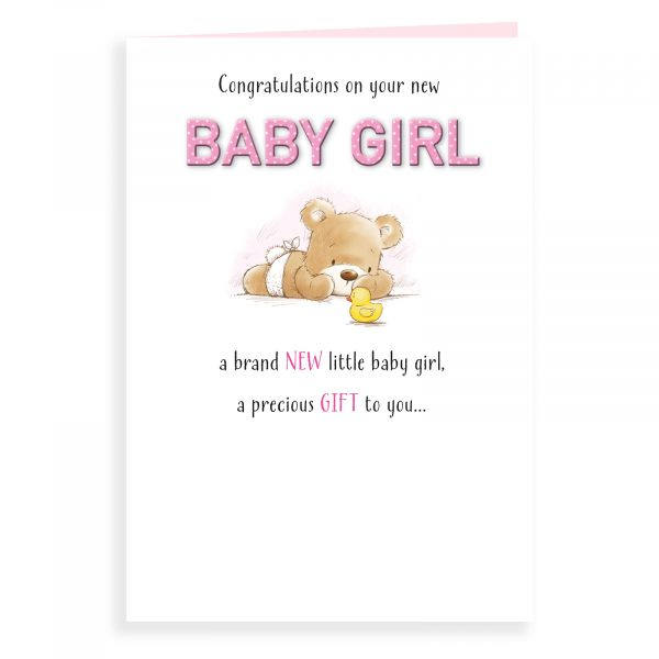 Baby Card Baby Girl, Bear And Duck