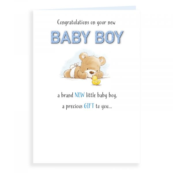 Baby Card Baby Boy, Bear And Duck