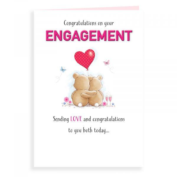 Engagement Card, Bear Couple Balloon