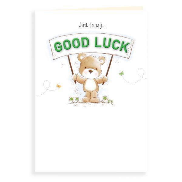 Good Luck Card, Bear Holding Banner