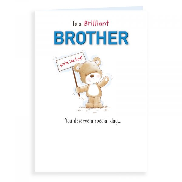 Birthday Card Brother, Bear Holding Banner