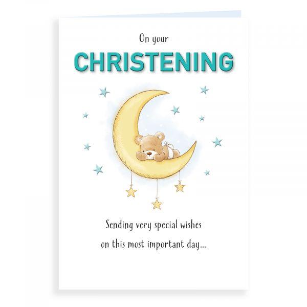 Christening Card, Bear On Sun Mobile