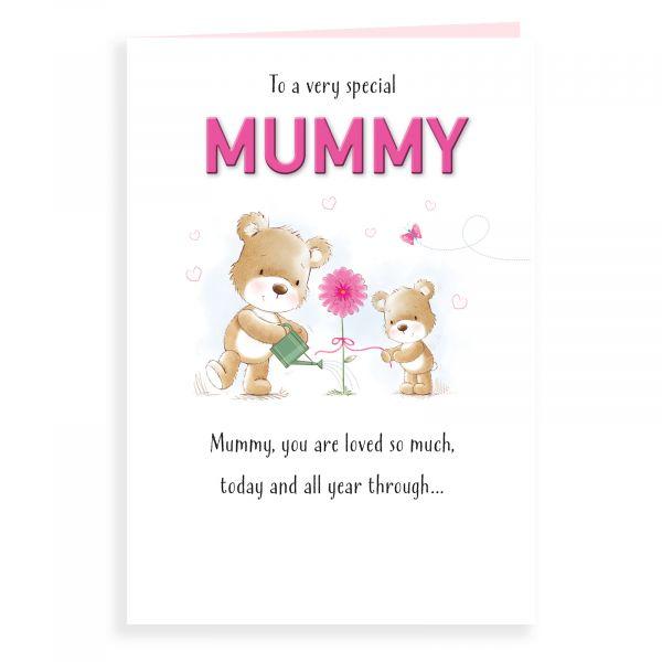 Birthday Card Mummy, Bear Watering Flower