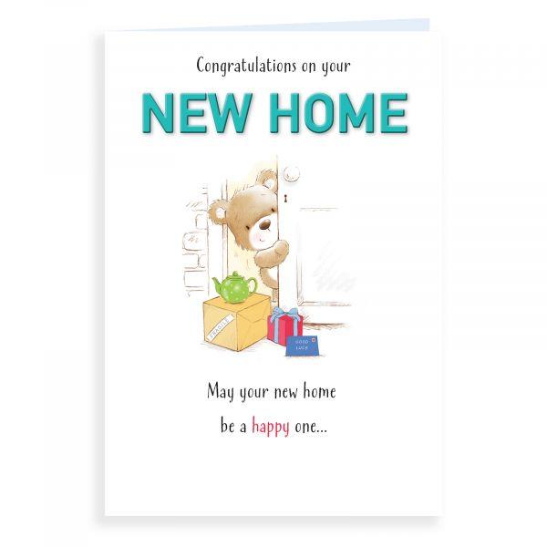 New Home Card, Bear Behind Door
