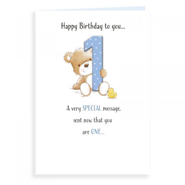 Birthday Card Age 1 M, Bear With One